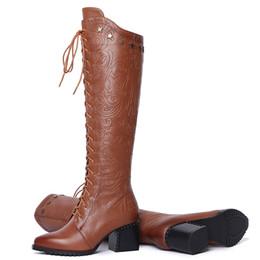 4691c8e19ba1a hot sales 2018 Autumn Winter New fashion Boots High Heel Rivet Zippers Over  Knee Boots Heavy Heel Boots factory wholesales B014