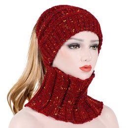 wrinkle hat 2019 - Winter Hats for Women Men Knit Beanie Mask Ring Set Autumn Ski Wrinkles Knitted Hats Scarf Hat Set Outdoor Warm Skullies