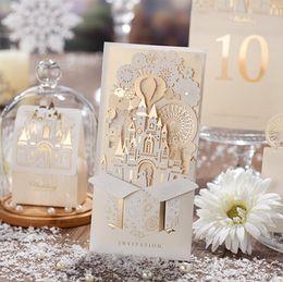 InvItatIon card free online shopping - Wedding Invitation Card White Hollow Invitation Card For Party Supply Free Printing Laser Cut Bow Birthday Invitations