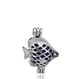cage fish UK - 10pcs lot Silver Alloy Mini Sea Fish Beauty Oysters Beads Cage Locket Pendant Aromatherapy Perfume Essential Oils Diffuser