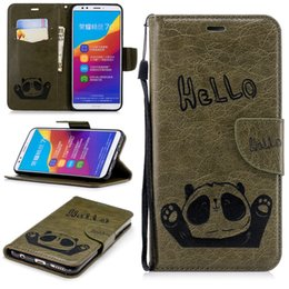 Wholesale For Huawei Y7 Cute Bear Saying Hello Mobile Phone Wallet Cases Stand PU Leather Cover with Hand Strap Card Slots
