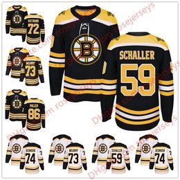 db4d404ab Boston Bruins  59 Tim Schaller 72 Frank Vatrano 17 Ryan Donato 74 Jake  DeBrusk 86 Kevan Miller 2018 Black White Hockey Jerseys S-60