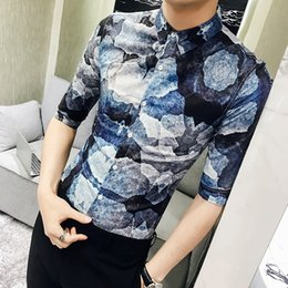 social 2019 - Quality Men Shirt Fashion Spring Summer Half Sleeve Digital Print Shirts Mens Slim Fit Hairstylist Social Blouse Homme 3
