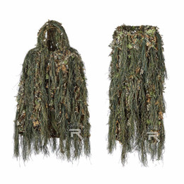 Costume de chasse léger de costume hybride de costume de Ghillie de camouflage de Woodland, voix silencieuse, costumes de Ghillie 3D