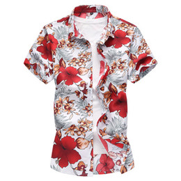 mens shorts 7xl Australia - New 2018 Mens Casual Designer Shirt Hawaiian Beach Printed Floral Holiday Shirt for Men Autumn Fit Short Sleeve Cotton Plus Size M-7XL