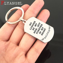 keyring engraving 2019 - Custom Name Dog Tag Keychain Engraved Forever In My Heart Angel Wing Jewelry Keyring For Lose Love Bereavement Souvenir