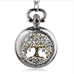 tree life watches UK - Fashion Silver Stainless Steel Tree Of Life Chain Luminous Pocket Watch Necklace Women Jewelry Glowing Pendant Chain