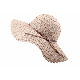 Chinese  2018 Summer Women Sun Hats Fashion Lady Wide Large Brim Foldable Straw Hat Ladies Lace Hollow Straw Beach Cap manufacturers