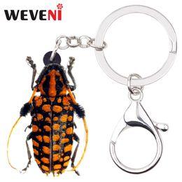 $enCountryForm.capitalKeyWord NZ - WEVENI Acrylic Novelty Beetle Insect Key Chains Keychains Rings Jewelry For Women Girls Teens Bag Car Pendant Purse Charms Bulk