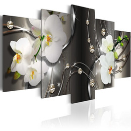 Contemporary Frames Canvas Prints Australia - Amosi Art White Orchid Flowers Contemporary Canvas Print Art Vivid Floral Diamond Painting Modern Picture Wall Decor HD Artwork on Framed