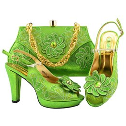 Shoes Green Color Australia - New Shop 50% Discount 2018 New Fashion Italian Ladies High Heels Shoes With Nice Bag Set In Lemon Green Color With Big Flower