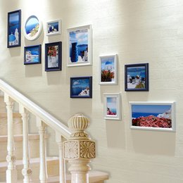 11pcs Set Stairway Photo Frames Wall Creative Simple Style Wall Hanging  Photo Frames Set Stairs Decor Picture Frame Combination