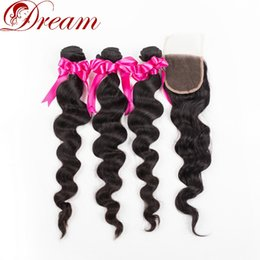$enCountryForm.capitalKeyWord NZ - Dream 8 A Virgin Hair Loose Wave 3 Bundles with 4*4 Lace Closure Unprocessed Human Virgin Hair Extensions Free Middle Three Part