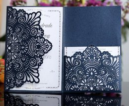 White Invitations Cards Australia - Dark Navy Laser Cut Invitations Cards with RSVP Cards White Pearl Paper Invite Card stock for Birthday Party Supply Free Shipping