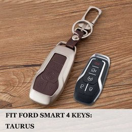 Discount key shell case for ford - Zinc+leather Remote Car key case For FORD EDGE EXPLORER Fusion Mustang F150 Smart protection cover key shell set wallet
