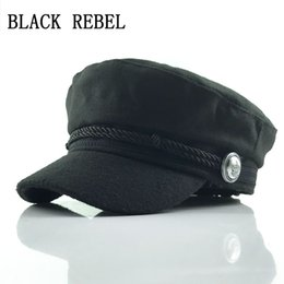 f85a2b1d Black Rebel Winter Hats For Women Men Octagonal Cap Wool Button Baseball Caps  Sun Visor Hat Gorras Casquette Touca Black Casua