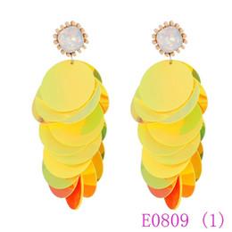 wedding hoop earings 2019 - 3 set Bohemian Women Sequins Dangle beautiful Earings Fashion Resin Wafer Dropshipping Wedding Gifts Jewelry E0809 cheap