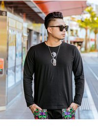 Discount fashion designing mens wear - Men T Shirt Fashion Design T Shirts Mens Clothing Summer Casual Shirts for Men Street Wear Crew Neck Black Long Sleeve P