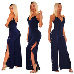 Wholesale black pants rompers for women resale online – Black Sexy Deep V Fashion Wide Leg Jumpsuit For Woman Split Casual Halter Jumpsuits Wide Leg Pants Women Rompers