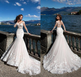 Wholesale 2018 Gorgeous Mermaid Wedding Dresses Sheer Neck Illusion Long Sleeves Lace Appliqued Court Train Corset Beach Bridal Gowns BA8521