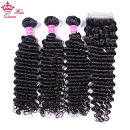 "Queen Brazilian Deep Wave Hair Australia - Queen Hair Products Brazilian Virgin Hair Bundles With Closure 4pcs lot Human Hair Loose Wave Bundles With Closure 10""-28 ""Hair Extensions"