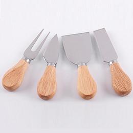 $enCountryForm.capitalKeyWord Canada - 4pcs set Cheese Useful Tools Set Oak Handle Knife Fork Shovel Kit Graters For Cutting Baking Chesse Board Sets 200set WN348