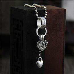 $enCountryForm.capitalKeyWord Canada - 925 sterling silver Pendant women vintage thai silver jewelry heart tassel necklace pendant hip hop jewelry bijoux wholesale china