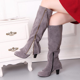 Wholesale 2018 Lace Cuff Women Knee High Boots High Heels Four colors Boot Autumn and winter Women Shoes Sizes