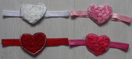 $enCountryForm.capitalKeyWord NZ - 20pcs 7.5cm chiffon rosettes heart flower headband in girls,headband flower girl,chiffon flower headbands for babies,kids heart headband