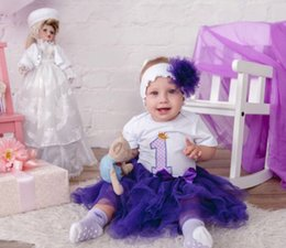 Red White Blue Tutus UK - Girl First 1st Birthday Outfit Tutu Dress Skirt Tutu Newborn Dress (Tops+Headband+Dress)