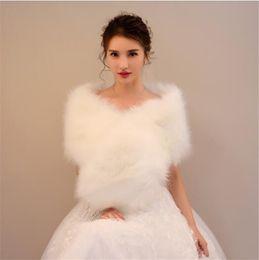 Winter White Dress Coats Australia - Autumn winter bride imitated rabbit fur ear cape wedding dress cape dress fur cloak coat white thickened female