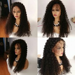 Kinky Peruvian Lace Wig Australia - 150% Density Kinky Curly Glueless Lace Front Human Hair Wigs For Women Peruvian Non Remy Hair Pre Plucked Lace Wigs
