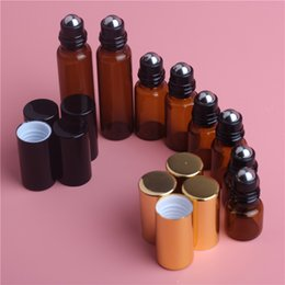 DeoDorant bottles wholesale online shopping - 1ML ML ML ML ML Amber Roll On Roller Bottle for Essential Oils Refillable Perfume Bottle Deodorant Containers