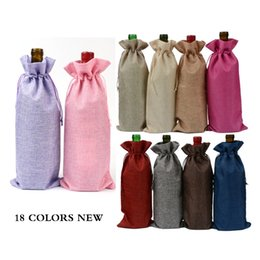 "Discount wine festival gifts - 18 Colors Jute Wine Bottle Bags Drawstring Pouch 15cmx35cm(6""x14"") Gift Bag Wedding and Festivals Decoration F"