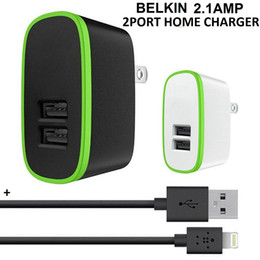 Eu Car Charger Packaging NZ - 2 Port USB Home Charger SYNC with 1.2m Cable 4Ft Adapter Kit 2 in 1 5V 2.1A Wall Charger Connector EU Plug in retail package