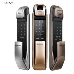 SAMSUNG SHP-DP728 Keyless BlueTooth empreintes digitales PUSH PULL Serrure de porte numérique à deux voies Version anglaise Big Mortise Gold Color