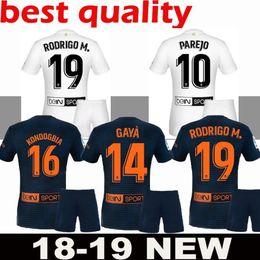 076ed2cef 2018 2019 Valencia CF Soccer Jersey ZAZA PAREJO G.GUEDES C.SOLER GAYA MINA  VIETTO RODRIGO Blue White golden Adult kit Football Shirt