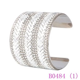 $enCountryForm.capitalKeyWord UK - 3pcs Brand Arrows Wide Cuff Bangle for Women Shiny Rhinestone Silver Gold Color Christmas New Year Gift Drop Shipping Jewelry B0484