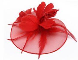 $enCountryForm.capitalKeyWord NZ - Luxurious Bridal Hat Ventilation Flax With Feathers Yarn Cap Classic Leisure Lash Net Caps Head Ornaments Foldable 12 88sq jj
