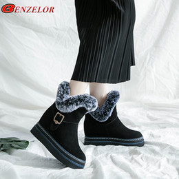 Nubuck Shoes Fur NZ - 2019 BENZELOR 2018 Winter Faux Fur snow boots women shoes woman mid-calf Wedge Platform Warm Plush Fashion Femme Ladies Boot Booties