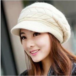 $enCountryForm.capitalKeyWord NZ - Elegant Women Hat Winter Autumn Beanies Knitted Hats For Woman Rabbit Fur Cap Ladies Female Girl Berets Skullies Crochet Bonnet