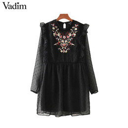 long sleeve dress vintage patchwork 2019 - Wholesale-Vadim ruffled lace patchwork floral embroidery black mesh dress transparent long sleeve vintage lady casual Ve