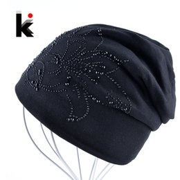 Beanies For Winter Australia - 2018 Female Beanie Bonnet Autumn And Winter Caps Hip-hop Cap Flower Rhinestone Hats For Women Beanies Balaclava Womens Skullies S1020