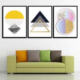 Art Canvas Prints Australia - Nordic Decoration Painting Wall Canvas Watercolor Pictures Abstract Geometric Figure Posters And Printed Art For Living Room