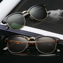 Box Brand Glasses NZ - Wholesale Top Quality Brand Logo Sunglasses Glass Lens Goggle Shades UV400 Unisex Metal Frame Eyewear Sun Glasses Accessory With Box 30-16