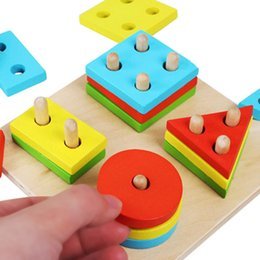 Wholesale NEW Educational Wooden Geometric Sorting Board Blocks Montessori Kids Baby Educational Toys Building Blocks High Quality