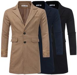 Wholesale black trench coat men's fashions resale online - Men s Autumn Winter Woolen Coats New Fashion Single Breasted Woolen Trench Coat Wool Blends Versatile Embroidery Long Men Jacket Outerwear