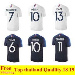 a3a01c34580 New 2018 France World Cup jerseys POGBA GRIEZMANN PAYET KANTE Mbappe  Football t shirts 18 19 France National Team home away Soccer Jerseys
