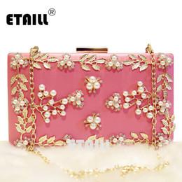 $enCountryForm.capitalKeyWord NZ - ETAILL Metal Flower Appliques Crystal Beaded Women Pink Acrylic Evening Wedding Box Clutch Bag Ladies Chain Shoulder Handbags