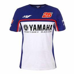 Venta al por mayor de Nueva motocicleta motogp 100% algodón verano camiseta informal de manga corta Ajuste para Yamaha motogp 25 MAVERICK VINALES Hombres camiseta corta
